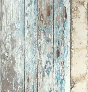 Vlies Tapete Antik Holz Rustikal Verwittert Beige Braun Türkis Blau