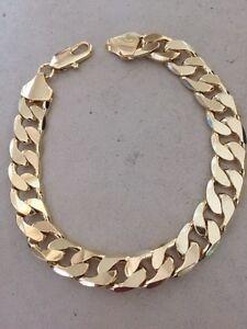 50-Solde-9-034-Lumiere-18K-Plaque-Or-Grand-Hommes-Bracelet-Femme-Noel-Cadeau