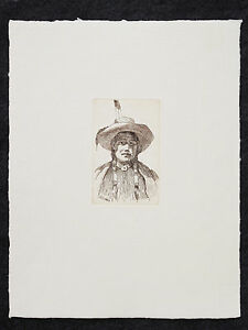 Joseph Henry Sharp grabado Indio Nativo Americano Forrest
