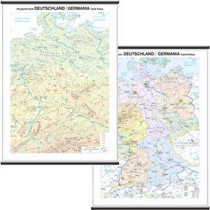 Cartina Cap Germania.Germania Carta Murale Scolastica Bifacciale 97x134 Cm Mappa Cartina Belletti Ebay