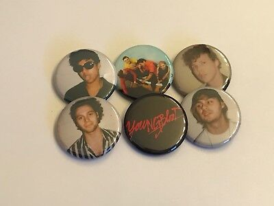 """5 SOS Calm Button Set Of 6 Pins 1.25/"""" Five Seconds Of Summer"""