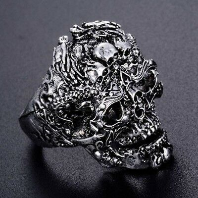 Cool Men's Stainless Steel Gothic Punk Skull Head Boy Biker Finger Ring Jewelry
