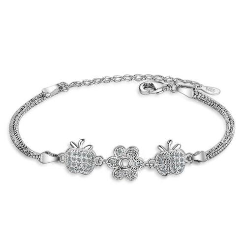 Femmes 925 Argent Sterling Mignon AAA Zircone Cubique Apple Sun Flower Bracelet Bangle 21 cm