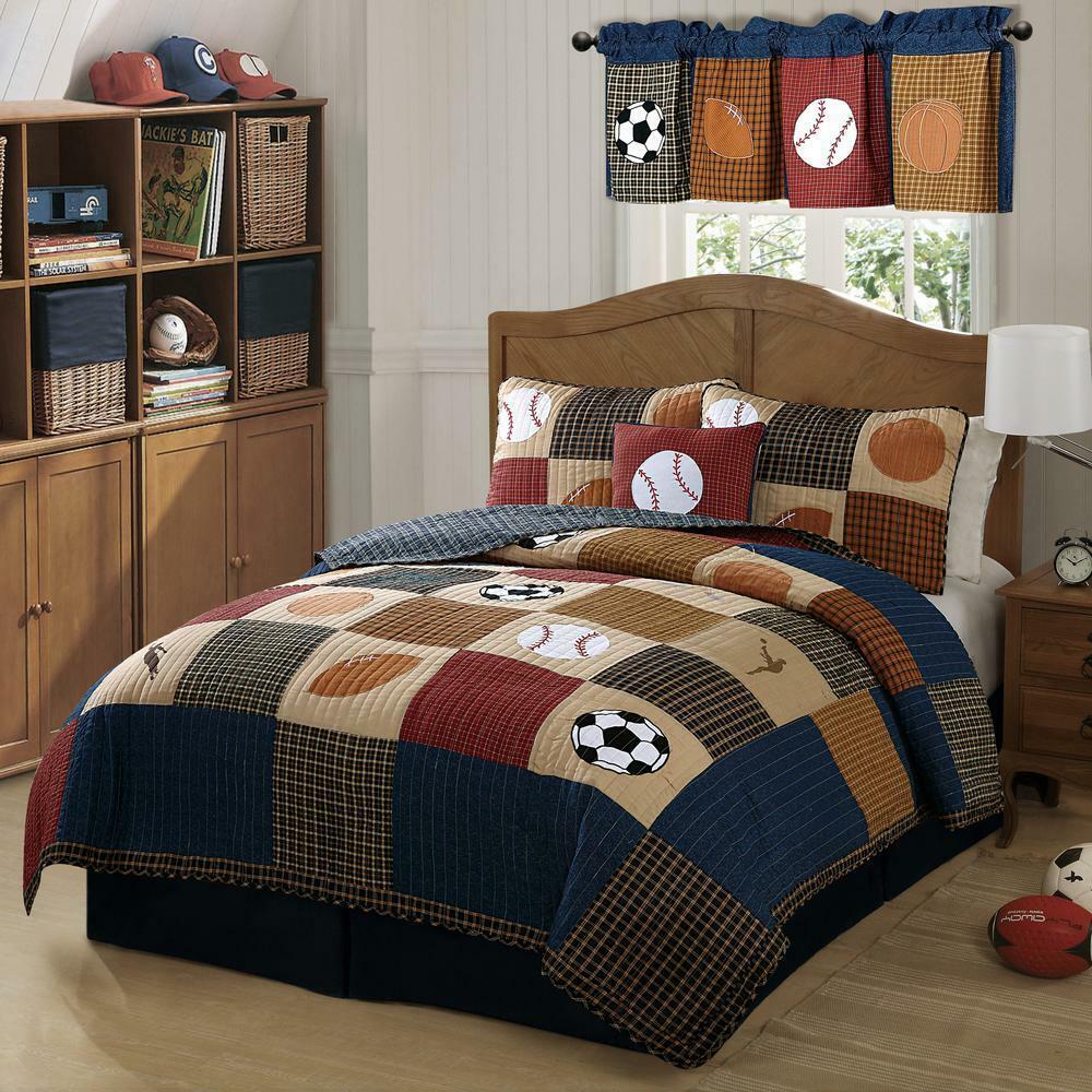 My World Classic Sports Quilt with Pillow Pillow Pillow Sham, 100% Natural Cotton, Twin  Queen 19097b