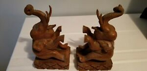 Vintage-Wood-Hand-Carved-Elephant-Bookends-from-Thailand