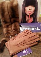 Chic Genuine Deer Leather Gloves, Color Cognac, Size 7