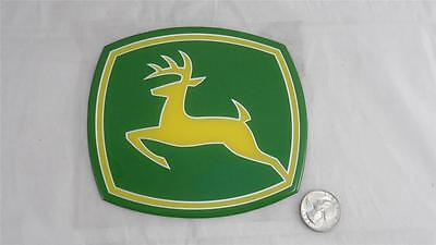 """NEW John Deere Sticker Decal 5 3/8"""" X 4 3/4"""" Heavy Duty Thick Silver Outlined"""
