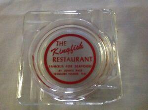 Details About The Kingfish Restaurant Treasure Island Florida Vintage Glass Ashtray