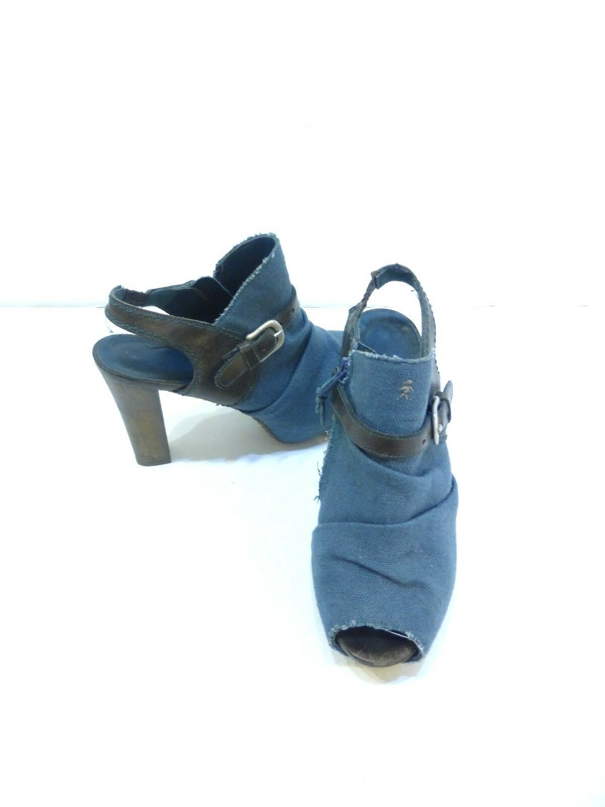 Henry Beguelin Blue Denim Slingback Booties Sandals sz 6 Euro 36