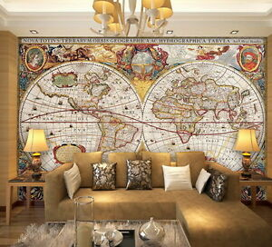 Vintage hd world map wallpaper wall decals wall art print mural home image is loading vintage hd world map wallpaper wall decals wall gumiabroncs Gallery