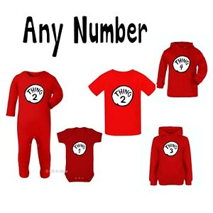 THING 1 T-SHIRT WORLD BOOK DAY BODYSUIT VEST DR SEUSS CAT IN THE HAT ... 38b1428c9