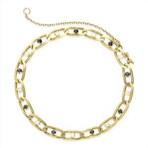 Vintage-18CT-or-Diamant-et-Saphir-Bracelet-1981