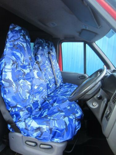 VAUXHALL VIVARO 2001 ON VAN SEAT COVERS CAMOUFLAGE DPM CAMO BLUE HEAVY DUTY 2-1