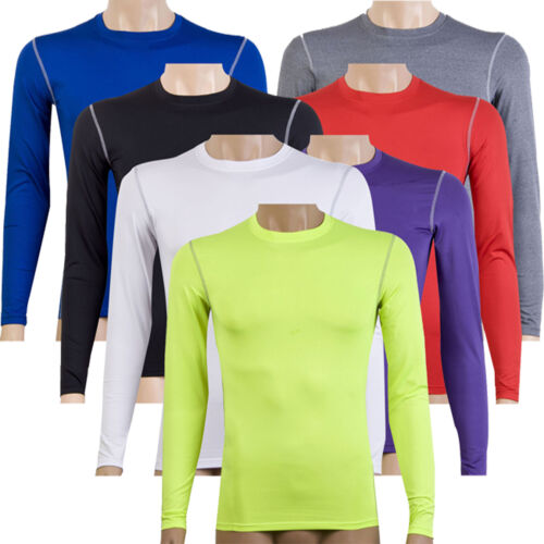 Mens Compression Base Layer Top Long Sleeve Slim Fit Thermal Gym Sports T Shirt