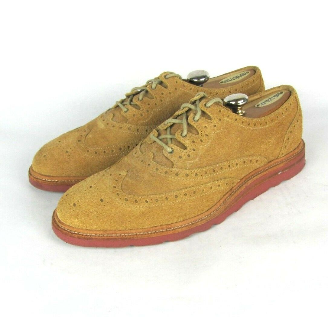COLE HAAN Mens 9.5 M Christy Wedge Gilley Wingtip Suede Oxfords Dress shoes