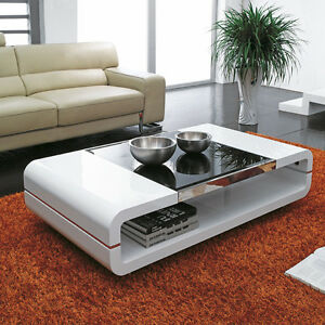 High Gloss White Storage Coffee Table Black Glass Top Living Room