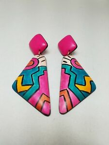 Abstract-Design-Colorful-Pierced-Earrings-Dangle-Drop-vintage