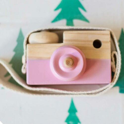 Kids Cute Wood Camera Toy Xmas Children Room Decor Natural Safe Wooden Camera BE