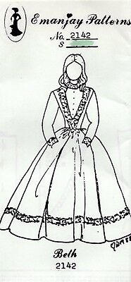 "1:12 scale Emanjay Dollhouse Doll Clothes Pattern #2142 Little Women /""Beth/""UNCUT"
