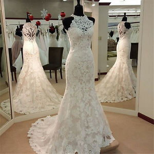 Details About White Ivory Mermaid Lace Halter Sleeveless Train Wedding Gown Wedding Dress
