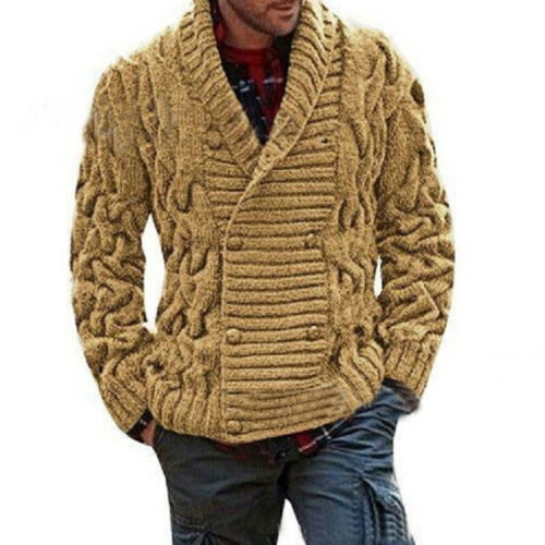 Homme Double Boutonnage Chaud Tricot Pull Knitwear Cardigan Revers Col Châle