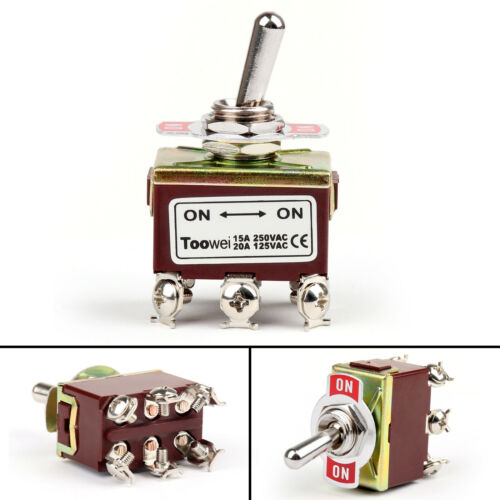 1x Toowei 2 Terminal 6Pin ON-ON 15A 250V Toggle Switch Screw DPDT Grade  UA