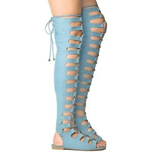 1b8ef9b0ac2c Cape Light Denim Open Lace Up Front Thigh High Gladiator Sandals