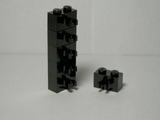 LEGO Lot of 10 Dark Gray 1x2 Brick Pieces with Vertical Clip