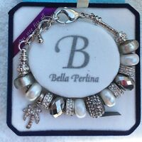 Deluxe Bella Perlina Black Silver Bracelet With Crystal Palm Tree Charm