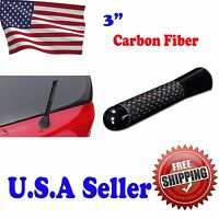 3 Universal Carbon Fiber Aluminum Short Auto Car Radio Antenna Screws - Black