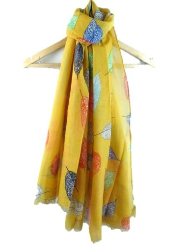 MULTI COLOURED LARGE  LEAVES SCARF LADIES VERY SOFT QUALITY SARONG
