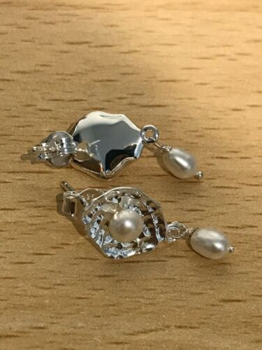 Gold Vermeil or RG Vermeil Posts Details about  /Pearl Dangle Earrings on 925 Sterling Silver