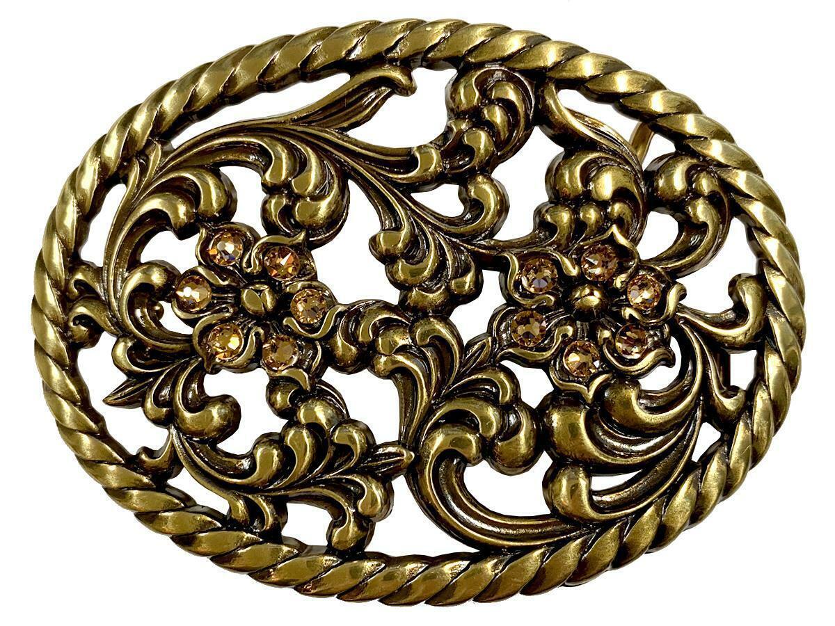 Antique Brass Flower Engraved Light Colorado Topaz Rhinestone Buckle Fits 1-1/2