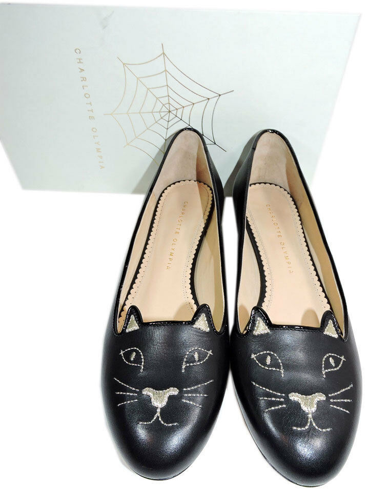 Charlotte Slipper Olympia Blck Leather Kitty Smoking Slipper Charlotte Flats Shoe Ballets 40-9 Cat 4f557a