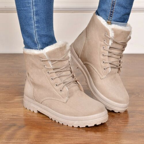 NEW Women Winter Warm Faux Suede Snow Faux Fur Lined Lace Up Ankle Boots Shoes