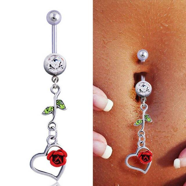 Red Rose Belly Button Ring Barbell Navel Body Piercing Jewelry Summer Gifts