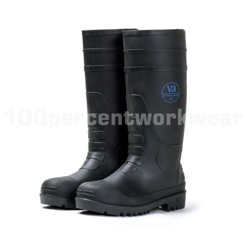 Va Negro Botas De Seguridad Trabajo S5 Pvc Puntera De Acero Botas De Agua Wellington suela de nitrilo