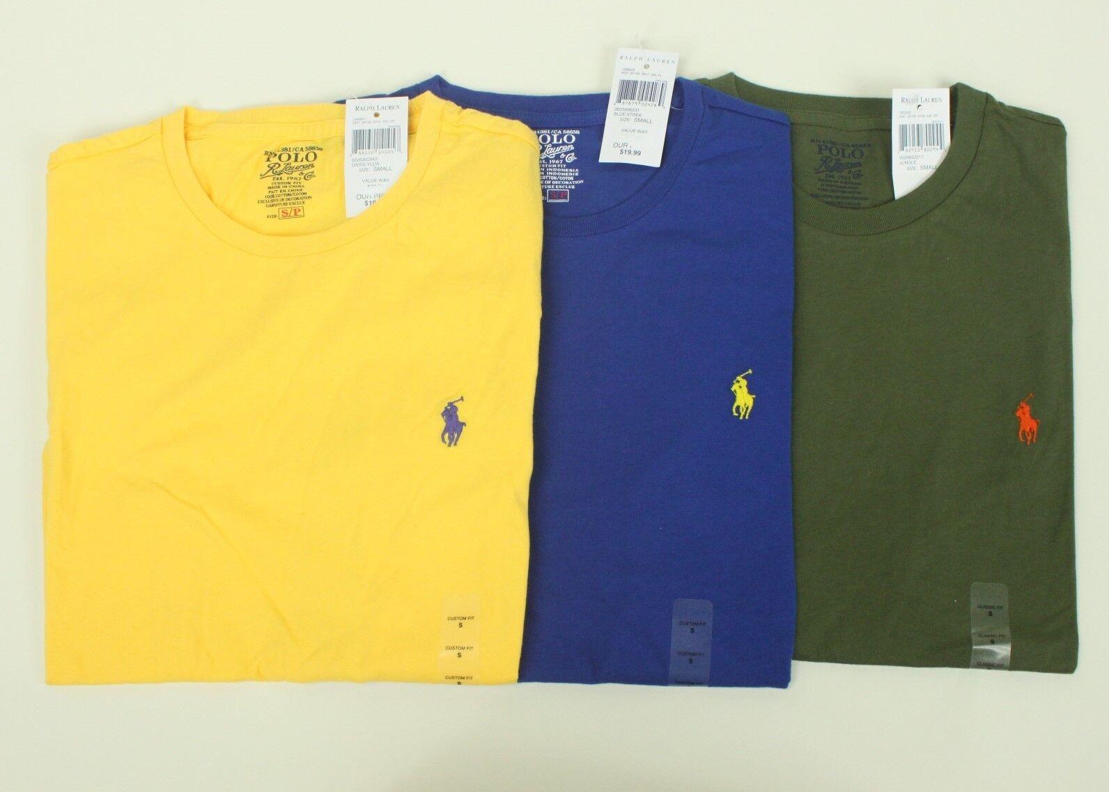 NEW (3) CUSTOM Classic Fit Polo Ralph Lauren T-Shirt Small S Gelb Blau Grün