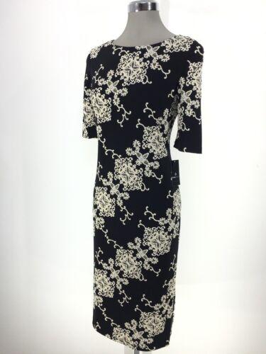 Ronni Nicole New Black Khaki Floral Sheath Dress Mid-calf size 6 8 10 12 14 16