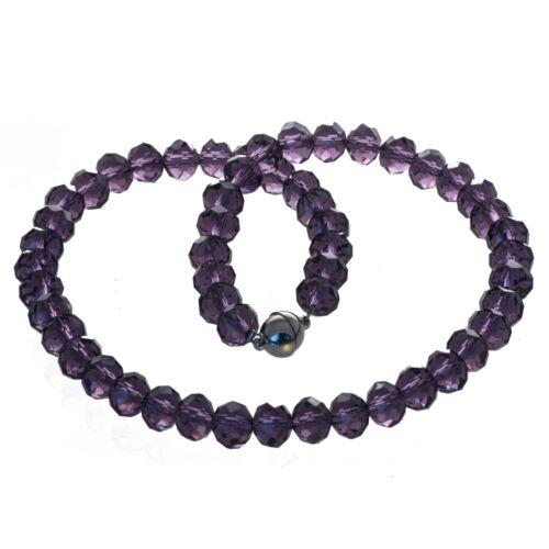 Kette Collier aus geschliffenem Glas violett Edelstahl Magnetverschluss
