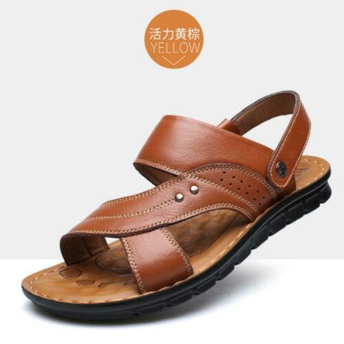 Men Genuine Leather Sandals Summer Casual Sports Beach Shoes Soft Home Slippers