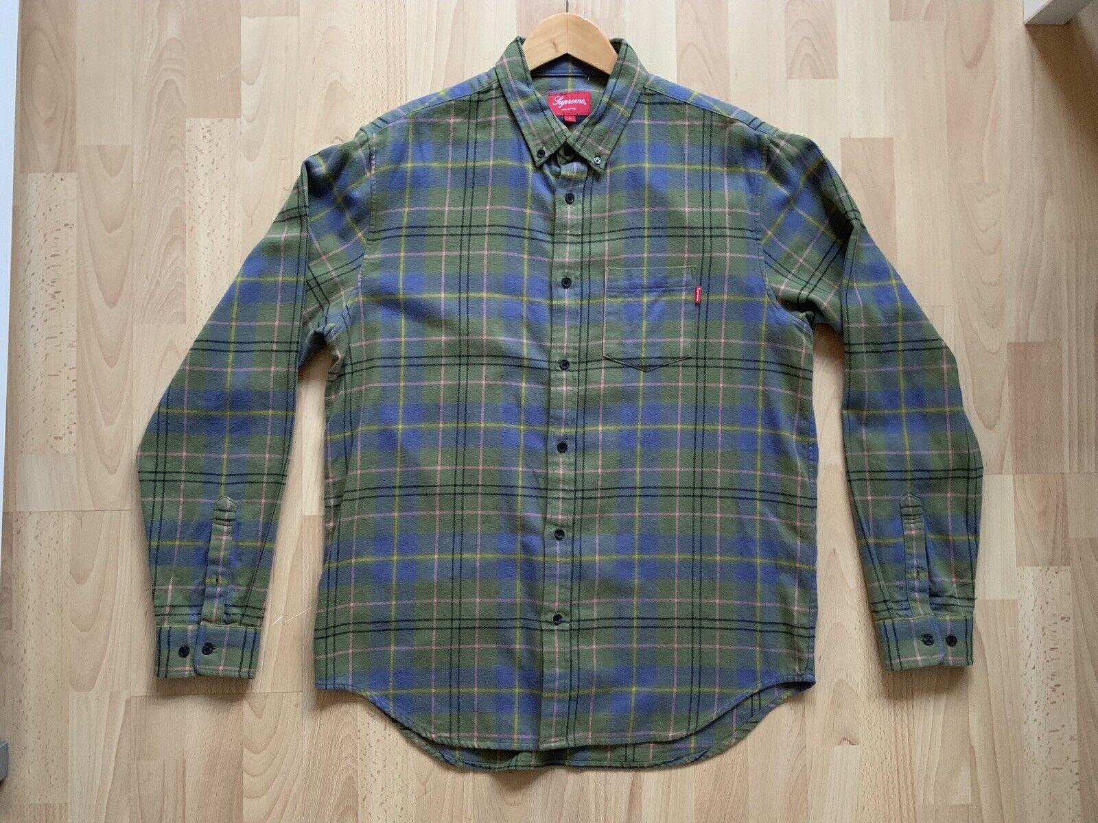 Supreme Light Olive Tartan Plaid Flannel Shirt - Large