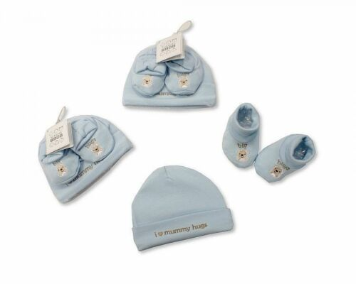 Baby Hat and Booties Cotton Gift Set Pink//Blue Mummy Hugs Boys//Girls