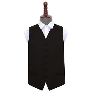 DQT-Satin-Plain-Solid-Black-Formal-Tuxedo-Mens-Wedding-Waistcoat-S-5XL-FREE-Bow