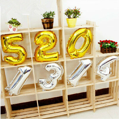 """16"""" Silver Gold Foil Helium Number Balloons Party Birthday Wedding Decoration"""