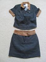 With Tags Women's Karl Kani Blue/tan Jean Set - Skirt Size 6 & Medium Shirt