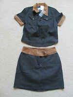 With Tags Women's Karl Kani Blue/tan Jean Set - Skirt Size 6 & Medium Shirt