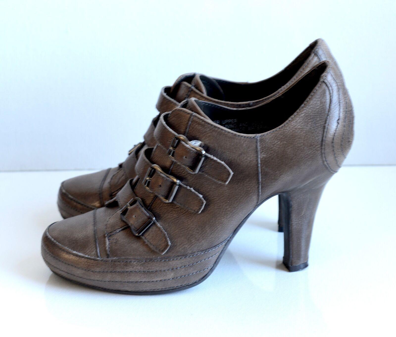 Ash Mujeres De Cuero Marrón Hebilla Tacón Alto Zapatos Botines Zapatos Alto Talla 38 ed5ee0