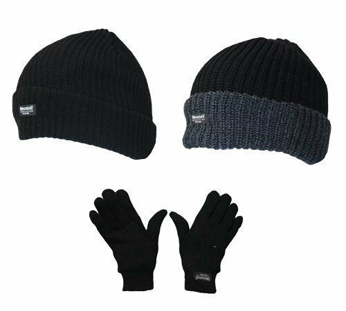Mens Winter Warm Thermal Lined Chunky Beanie Hat & soft Thermal Glove Gift Set