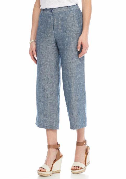Sophie Max Studio Indigo bluee Crossdye Linen Gaucho Pants -  78